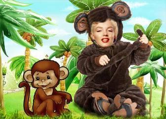 Ejemplo: Disfraz de mono para niños en el que podrás poner una foto