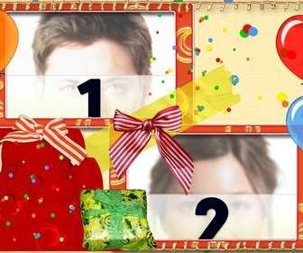 Ejemplo: Postal de cumpleaños para dos fotos con globos y regalos