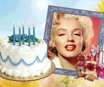 Ejemplo: Photo frame with birthday cake and gifts.