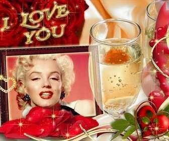 Carte en amour avec le texte I LOVE YOU. fond avec des roses et un verre de champagne.