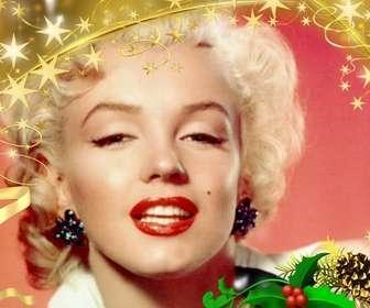 Ejemplo: Marco para fotos festivo de estrellas doradas con adorno navideño. Para personalizar tus fotografías estas fiestas