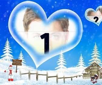 Postal de fondo azul y paisaje nevado que nos felicita las vacaciones de invierno, con un marco en forma de corazón en el que insertar tu fotografía.