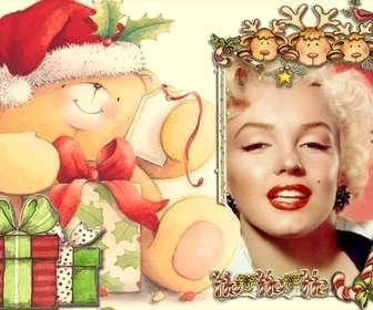 Cartão de Natal para uma moldura no quadro de olhar para fora três renas e um pássaro vermelho.