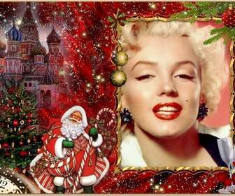 Elegant photomontage of Christmas and Santa Claus to add your picture