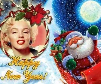 Photomontage de mettre votre photo dans un cadre photo arrondi avec une boucle, dans lequel le Père Noël nous félicite de la nouvelle année.