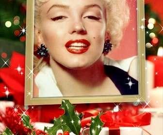 Carte de Noël insérer une photo dans un cadre doré avec des effets scintillants et de la décoration de Noël.