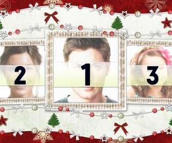 Ejemplo: Carte de Noël pour 3 photos et décorations de Noël.