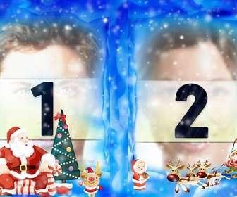 Pon dos de tus fotos en un marco navideño con Santa Claus