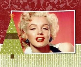 Ejemplo: Postal de navidad para personalizar con una foto de tu elección con adorno de árbol navideño con una estrella.