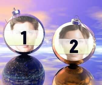 Funny Christmas photo effect where you can put two pictures on Christmas balls. Ideal to send as a greeting.
