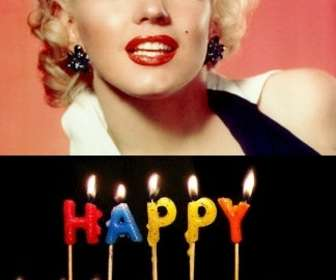 Ejemplo: Plantilla para crear una tarjeta de cumpleaños personalizable con tu foto, con velas con el texto Happy Birthday.