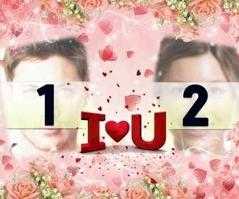 Cartão postal dos Namorados para colocar duas fotos, com texto EU TE AMO em forma de coração.