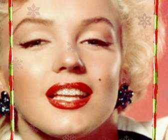 Diskrete Rahmen für ein Foto, es besteht aus roten Streifen mit grünen Streifen, mit Weihnachtsmotiven dekoriert. Mit Dias von verschiedenen Konfigurationen von Eiskristallen.