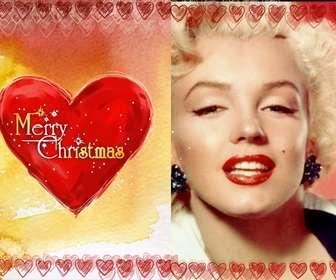 Ejemplo: Marco para fotos de tarjeta de Navidad con un corazón en el que está escrito Merry Christmas.