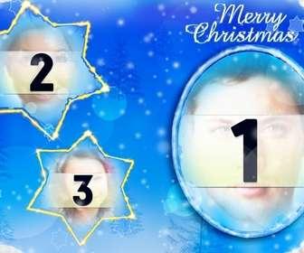 Ejemplo: Marco para tres fotos insertadas en la luna y dos constelaciones en forma de estrella con el que felicitar esta Navidad.