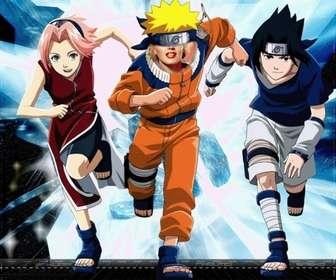 Ejemplo: Plantilla para fotomontaje. Puedes poner una cara en el cuerpo de Naruto, a la carrera, acompañado por dos de sus amigos de aventuras, jóvenes ninjas. Cristales luminosos al fondo.
