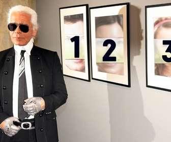 Ejemplo: Foto efeito, juntamente com Karl Lagerfeld. Coloque sua foto nas fotos.