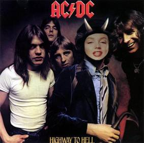 "Photomontage com a tampa de de Highway To Inferno, AC DC, Bon Scott nós  ""ll estar com chifres."