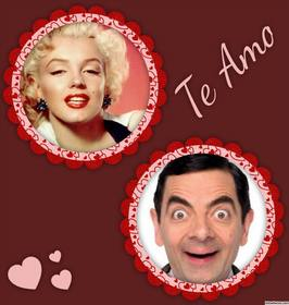 collage fotos especial enamorados palabra amo