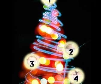 Fotomontaje de árbol de Navidad en el que puedes poner 4 fotos en las bolas iluminadas.
