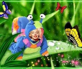 Ejemplo: Fotomontaje para niños de disfraz de caracol con mariposas.