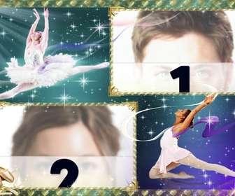 Marco para dos fotos con fondo de estrellas y bailarinas de ballet.