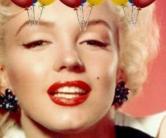 Ejemplo: Postal de cumpleaños. Con globos de colores para poner tu foto de fondo.