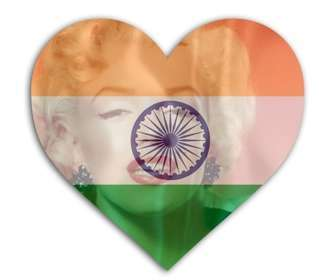 Montage photo du drapeau de lInde avec la forme de coeur à mettre sur votre image.
