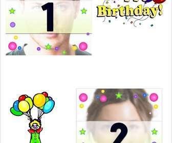 Ejemplo: Postal de cumpleaños para dos fotos, con motivos de pastel, payaso y globos.