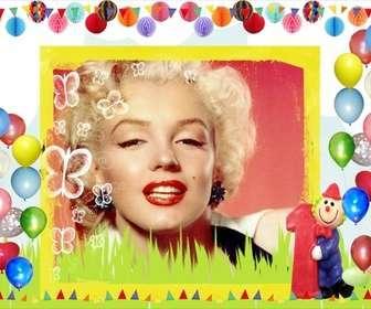 Ejemplo: Postal de cumpleaños con bordes de globos de colores.