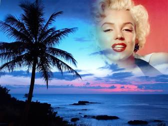 Ejemplo: Sunset, with a blue sky in a landscape of idyllic coastline, where we see a large palm tree. We will make a collage in the sky of the landscape with a photograph that appears transparent to the edges to eliminate sharp edges and smooth effects. To remember someone special.