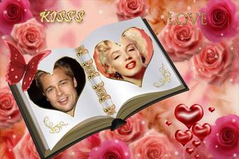 Customizable photo frame with two different photos. Book of love with ornaments of roses.