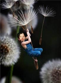 Ejemplo: Fotomontaje de niño volando, para poner la foto de un niño.