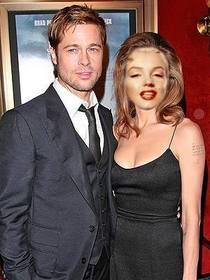 Ejemplo: Fotomontaje con personajes famosos, actores, en este caso. Pon tu cara en vez de la de Angelina Jolie, vestida de negro abrazada junto a Bradd Pitt. Para presumir de acompañante.