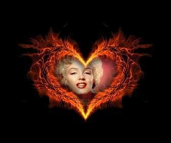 Ejemplo: Marco para fotos con forma de corazón ardiendo en el que podrás poner tu foto de fondo.