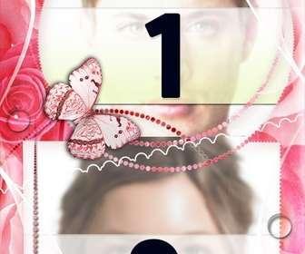 Ejemplo: Moldura para duas fotos de amor com enfeites de rosas e borboletas.