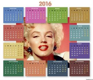 Gratuit 2016 Calendrier avec des couleurs pour télécharger votre photo gratuit