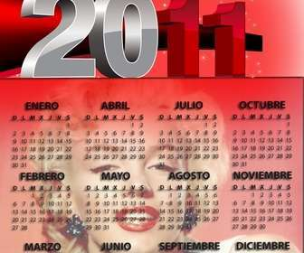 Ejemplo: 2011 Calendar of red, customizable with your photo. The year is in large metal gray and red. It is written in Castilian, but the order of the days of the week is the English system, with Sunday ahead.