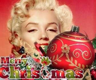 Weihnachten Postkarte mit roten Kugel und Ornamente mit Text FROHE WEIHNACHTEN in den Weihnachtsfarben.