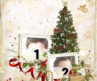 Fotomontaje de Navidad para hacer con dos fotos y enviar como tarjeta de Navidad.