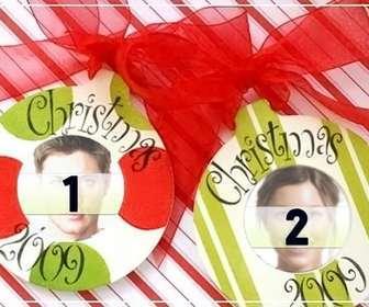 Postal de navidad para hacer online con 2 bolas de navidad - Adornos de navidad online ...