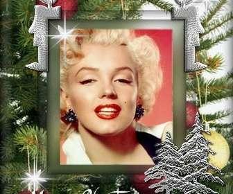 Customizable cartão de Natal com foto. Fundo da árvore de Natal, com animação.