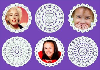 collage decorativos encajes circulares subir tres fotos