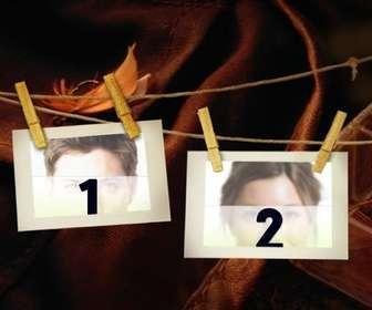 Ejemplo: Montaje de dos fotos colgadas con pinzas en un tendedero.