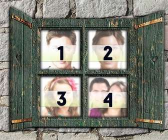 collage poner cuatro fotos ventana madera verde pared piedra crear fotomontajes online
