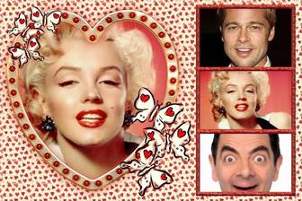 Collage de amor con 4 fotos y un corazón como foto principal.