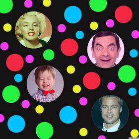 Original photo collage with colored dots to add four photos