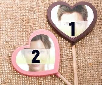 collage amor colocar fotografias piruletas chocolates color