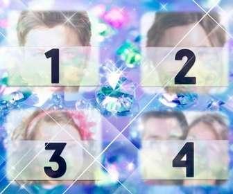 Crea un collage con diamantes brillantes azules con 4 fotos que subas online y agrega también un texto.