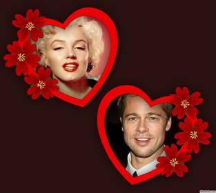 Fotomontage der Liebe mit zwei Rahmen von Herzen und Blumen für zwei Fotos